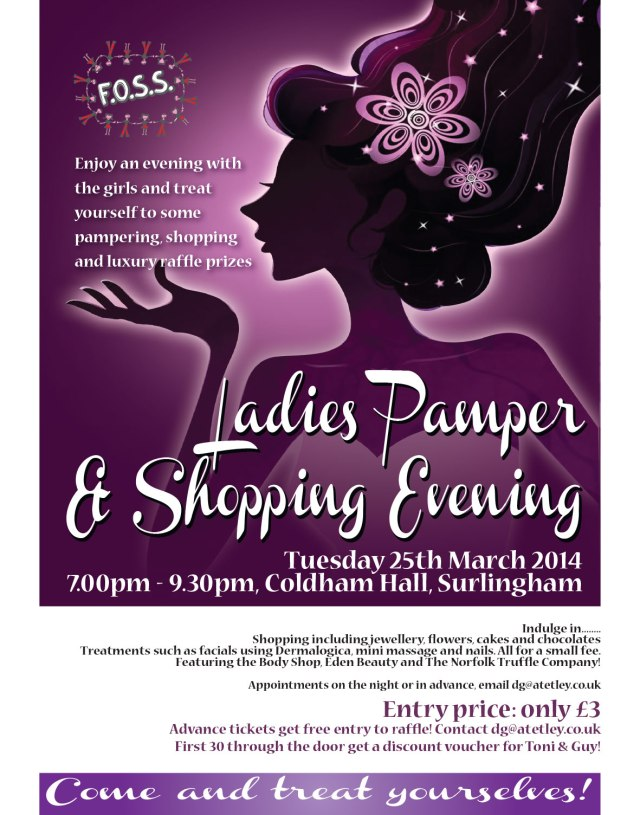 FOSS Ladies Pamper Night Tuesday 25th March at Coldham Hall