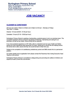 Cleaner & Caretaker Advert May 15