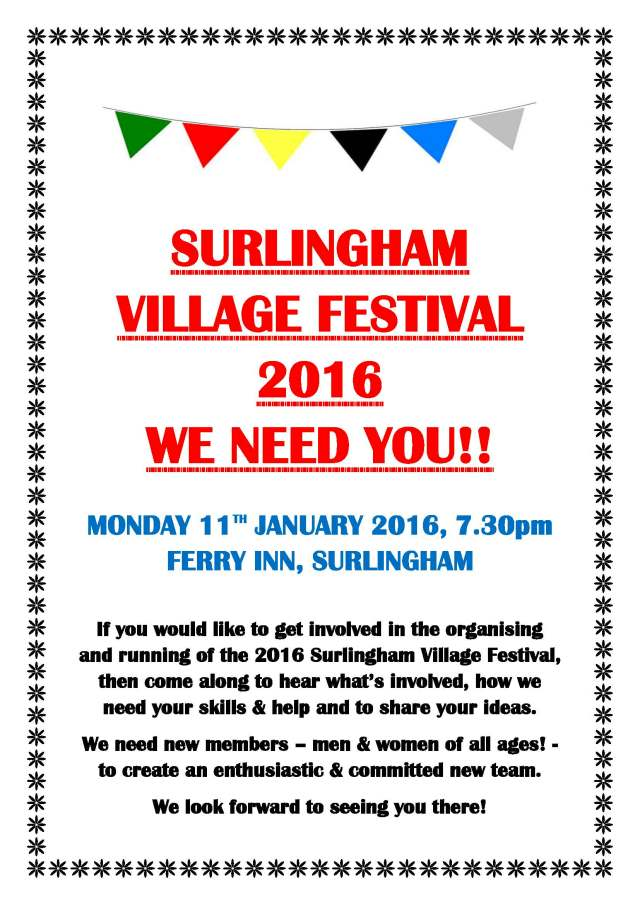 Surlingham Festival Group Poster Jan 2016