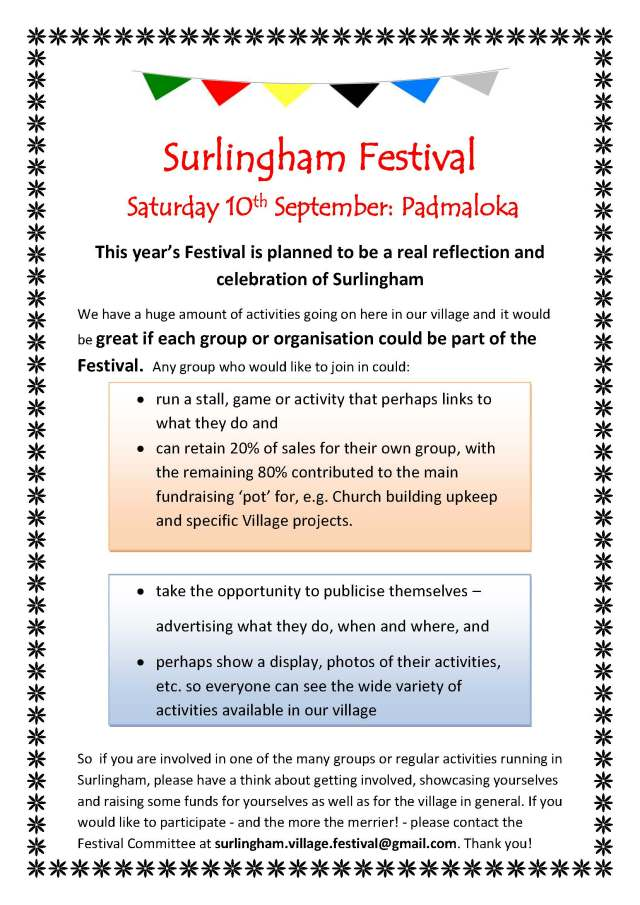 Calling all Surlingham Groups and Organisations