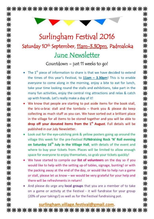 Festival Newsletter June 2016