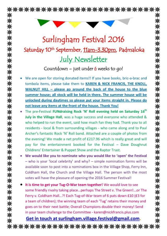 Festival Newsletter July 2016