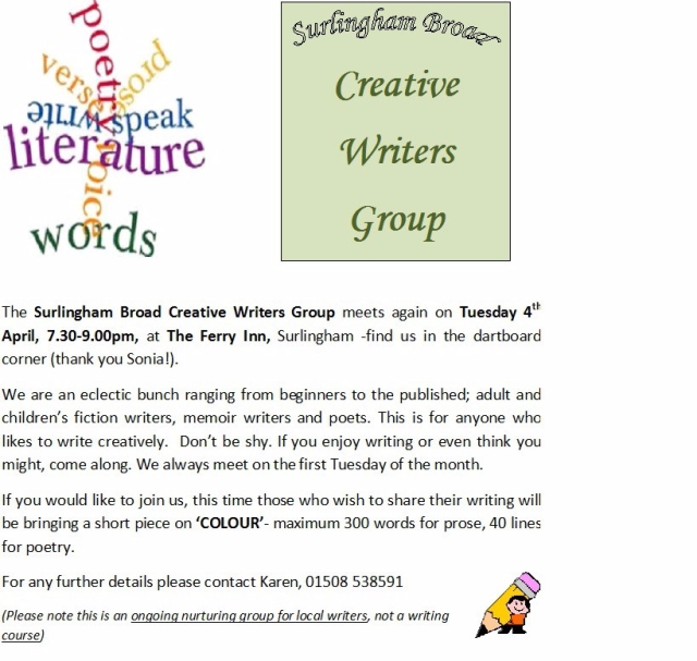 Creative Writers Group meeting April