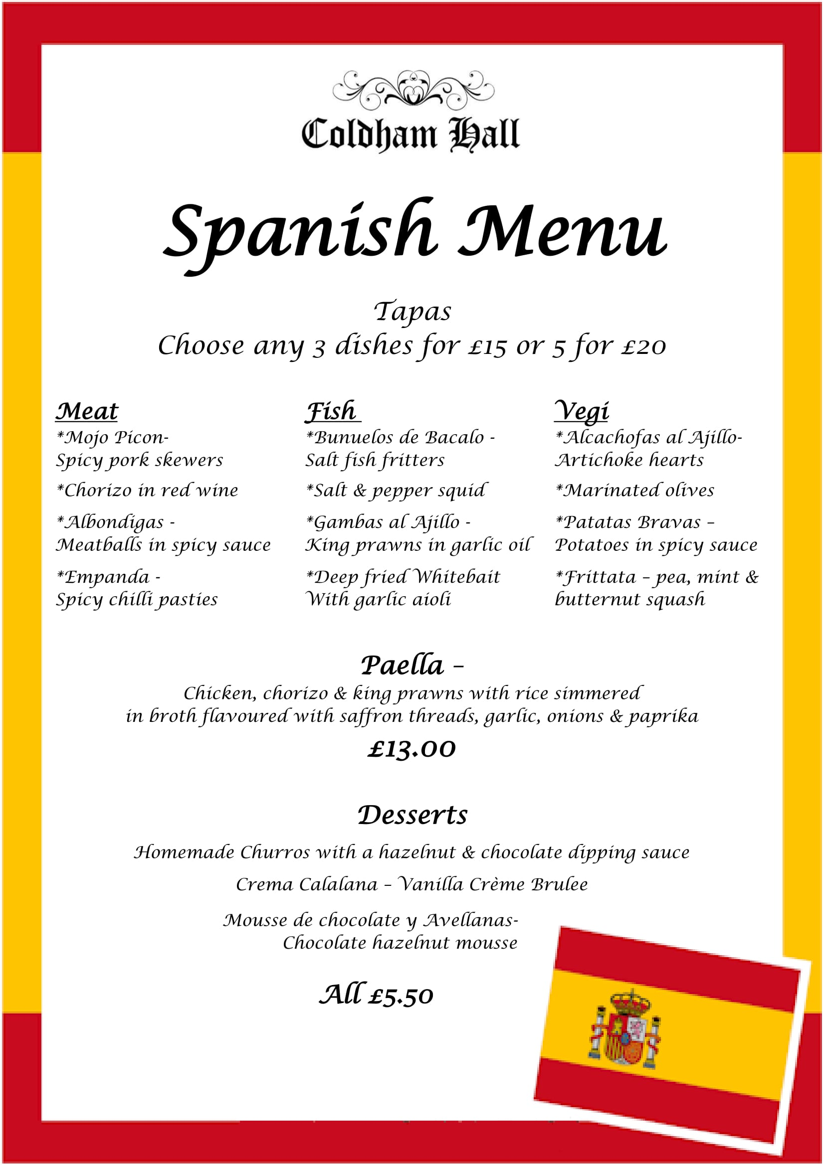 spanish themed food weekend at coldham hall